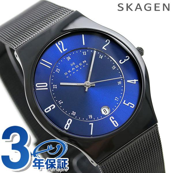 店内ポイント最大43倍!16日1時59分まで! スカーゲン 時計 メンズ チタン T233XLTMN SKAGEN ブルー×ブラック 腕時計【あす楽対応】
