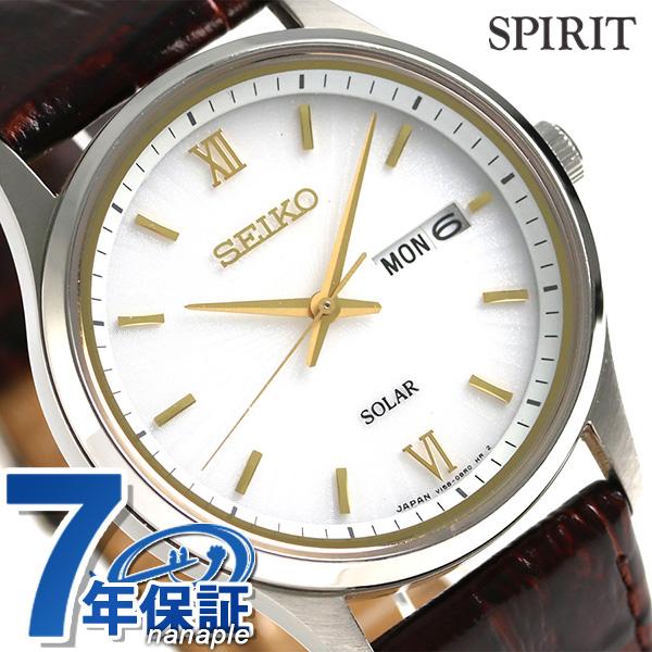 セイコー スピリット ソーラー メンズ 腕時計 SBPX099 SEIKO SPIRIT シルバー×ブラウン 時計