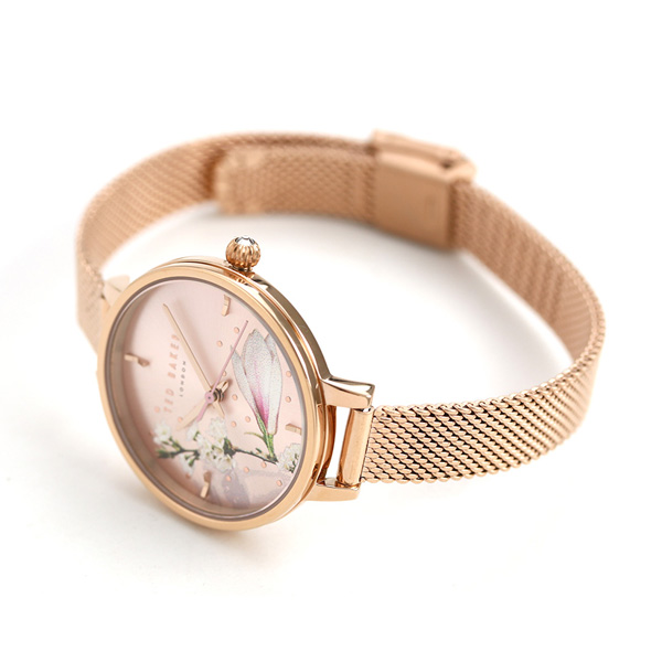 fc75f7ecc56 Ted Baker Lady s watch floral design pink gold TE50070005 TED BAKER Kate  32mm clock