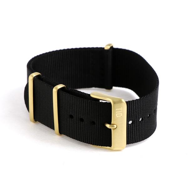 供TID watches钟表交换使用的皮带尼龙21mm黄金尾巴锁TID-BELT/NBK/GD黑色
