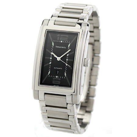 蒂芙尼運動場自動卷人手錶Z0031.68.10A10A00A TIFFANY&Co. 黑色金屬皮帶新貨