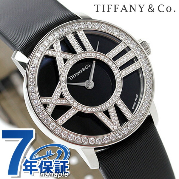 ティファニー アトラス カクテル ラウンド 26mm K18WG ダイヤモンド レディース 腕時計 Z1900.10.40E10A40B TIFFANY&Co. ブラック サテンレザー 新品 時計
