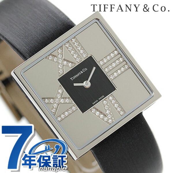 ティファニー アトラス カクテル スクエア K18WG ダイヤモンド レディース 腕時計 Z1950.10.40E10A40E TIFFANY&Co. シルバー×ブラック サテンレザー 新品 時計