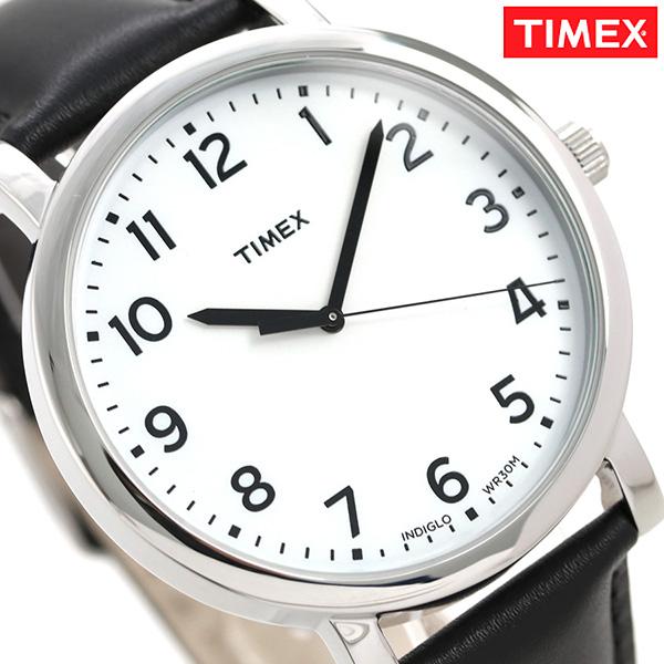 タイメックス モダン イージーリーダー 42mm 革ベルト T2N338 TIMEX メンズ 腕時計 ホワイト×ブラック 時計【あす楽対応】
