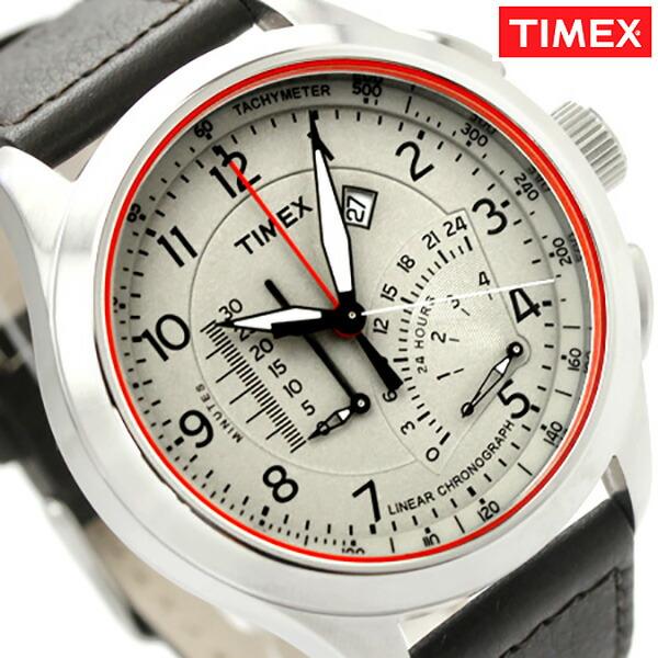 タイメックス 腕時計 インテリジェントクオーツ クロノグラフ メンズ クリーム×ダークブラウン レザーベルト TIMEX T2P275 時計【あす楽対応】