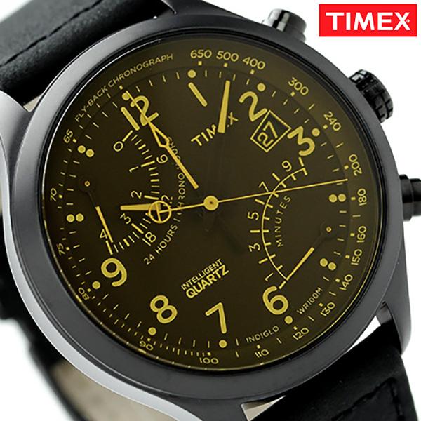 タイメックス インテリジェント クオーツ クロノグラフ T2P511 TIMEX メンズ 腕時計 レーシング フライバック ブラック×イエロー レザーベルト 時計【あす楽対応】