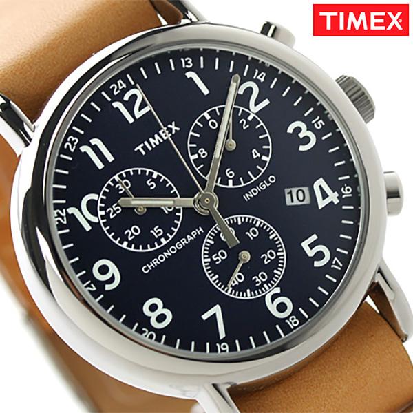 タイメックス ウィークエンダー 40mm クロノグラフ TW2P62300 TIMEX メンズ 腕時計 クオーツ ネイビー×ブラウン 時計