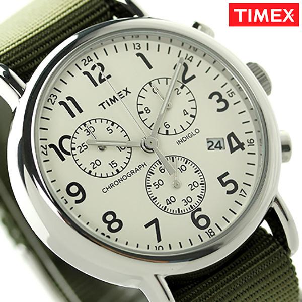 タイメックス ウィークエンダー 40mm クロノグラフ TW2P71400 TIMEX 腕時計 クリーム×オリーブ 時計