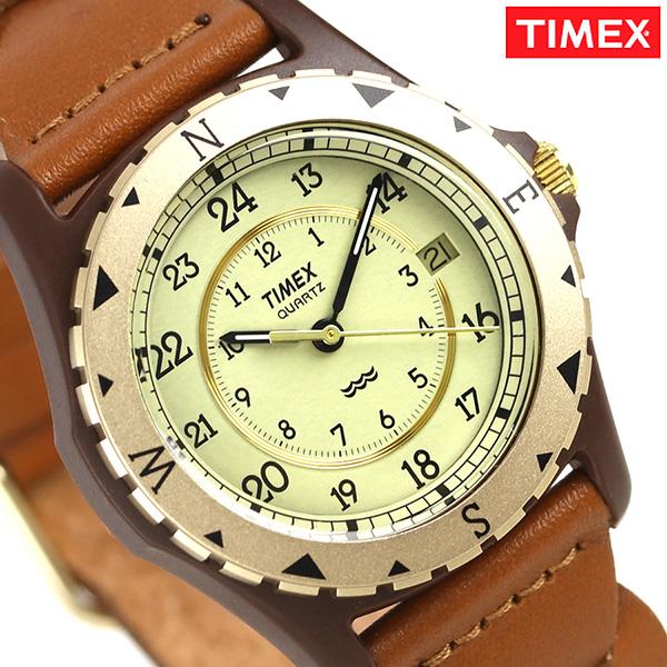 タイメックス サファリ 37mm 復刻モデル 革ベルト 腕時計 TW2P88300 TIMEX アイボリー×ブラウン 時計【あす楽対応】