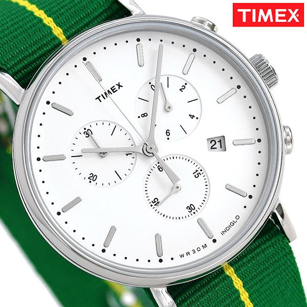 タイメックス ウィークエンダー フェアフィールド 41mm クロノグラフ TW2R26900 TIMEX 腕時計 シルバー×グリーン 時計【あす楽対応】