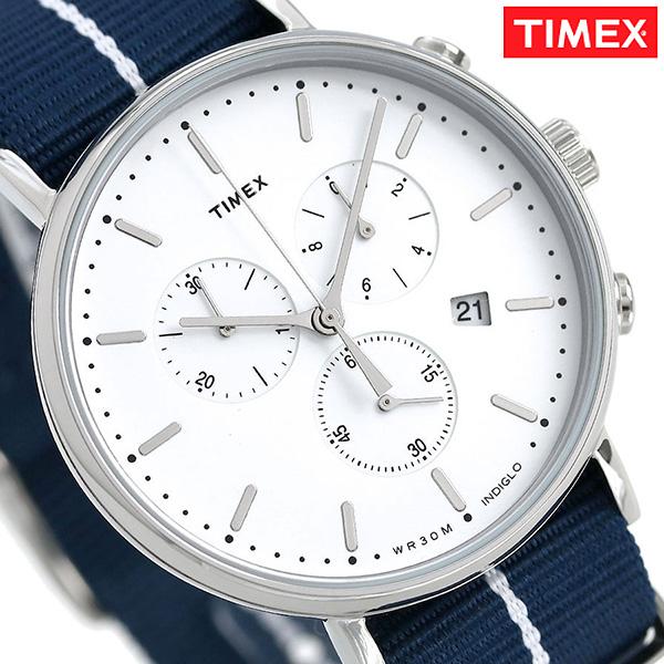 タイメックス ウィークエンダー フェアフィールド 41mm クロノグラフ TW2R27000 TIMEX 腕時計 シルバー×ネイビー 時計