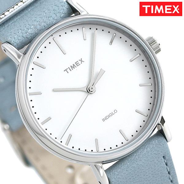 タイメックス フェアフィールド 37mm 革ベルト レディース TW2R70300 TIMEX 腕時計 ホワイト×ブルー 時計【あす楽対応】