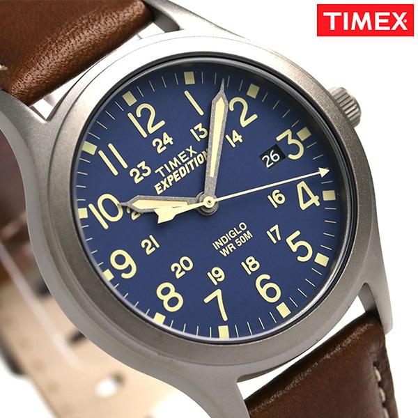 タイメックス スカウトメタル 36mm メンズ 腕時計 TW4B11100 TIMEX ネイビー×ブラウン 時計【あす楽対応】