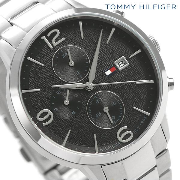 トミーヒルフィガー メンズ 腕時計 デュアルタイム 42mm リアム 1710356 TOMMY HILFIGER ブラック 時計【あす楽対応】