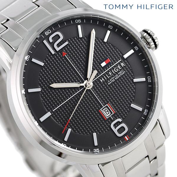 トミーヒルフィガー ジオレ 44mm クオーツ メンズ 腕時計 1791215 TOMMY HILFIGER ブラック 時計【あす楽対応】