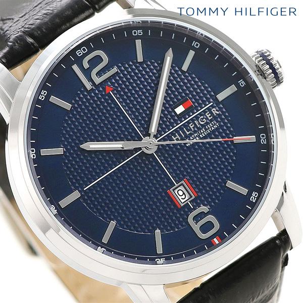 トミーヒルフィガー メンズ 腕時計 カレンダー 44mm 革ベルト ジオレ 1791216 TOMMY HILFIGER ネイビー×ブラック 時計【あす楽対応】