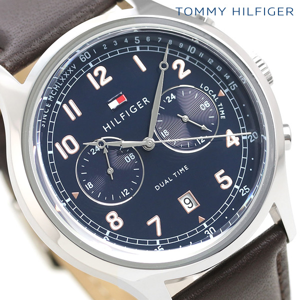 トミーヒルフィガー メンズ 腕時計 デュアルタイム 44mm 革ベルト エマーソン 1791385 TOMMY HILFIGER ネイビー×ブラウン 時計【あす楽対応】