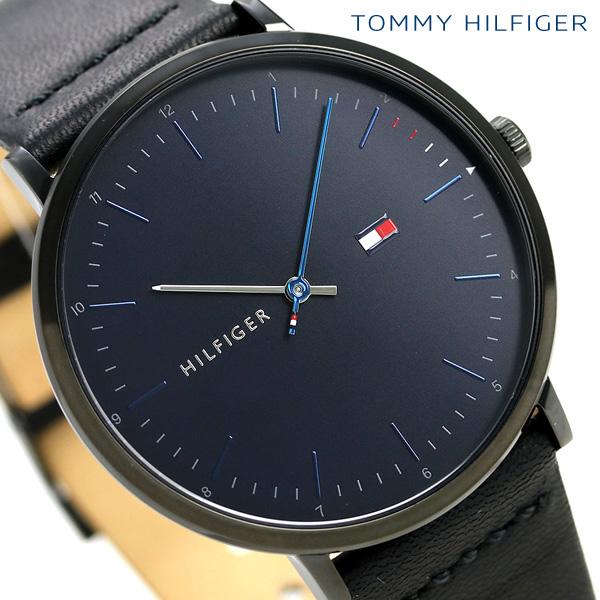 トミーヒルフィガー メンズ 腕時計 40mm 革ベルト ジェームス 1791462 TOMMY HILFIGER ネイビー×ブラック 時計【あす楽対応】