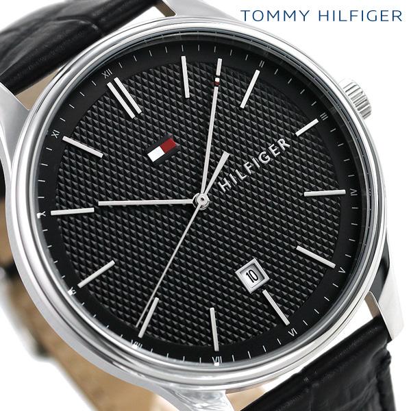トミーヒルフィガー メンズ 腕時計 カレンダー 44mm 革ベルト デーモン 1791494 TOMMY HILFIGER ブラック 時計【あす楽対応】