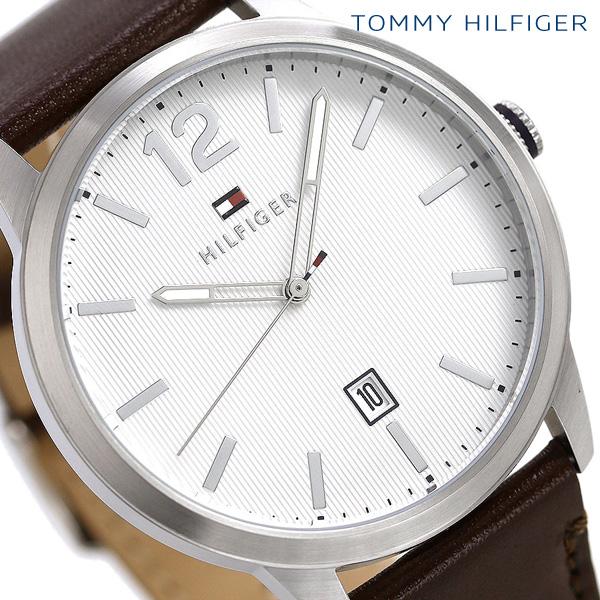 トミーヒルフィガー メンズ 腕時計 カレンダー 44mm 革ベルト デーモン 1791495 TOMMY HILFIGER ホワイト×ダークブラウン 時計【あす楽対応】