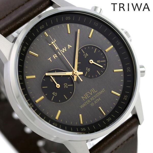 トリワ TRIWA ネビル スモーキー 42mm クロノグラフ 腕時計 NEST114-CL010412 グレーシルバー 時計【あす楽対応】