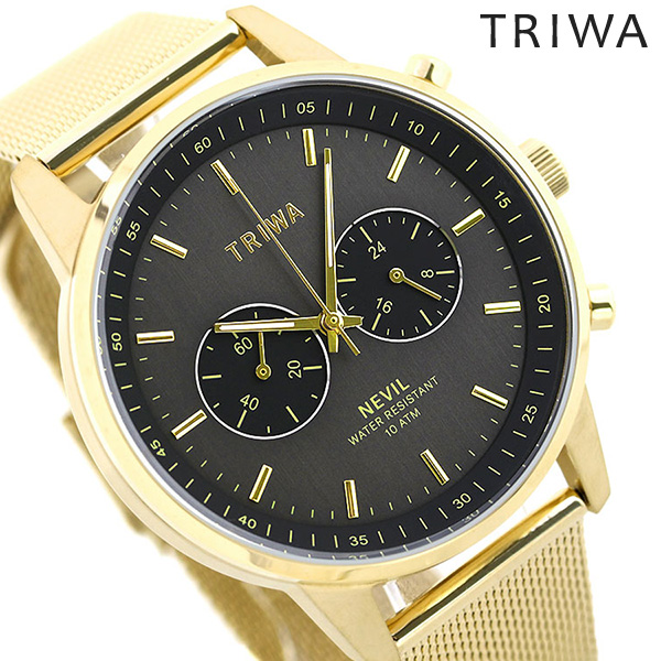TRIWA トリワ 時計 メンズ スモーキー ネビル 42mm 腕時計 NEST117-ME021313 グレー×ゴールド【あす楽対応】