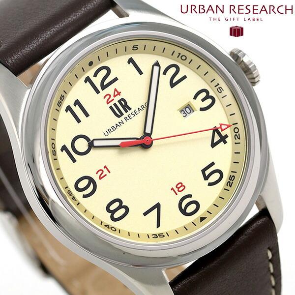 UR001-03 時計 ゴールド アーバンリサーチ メンズ URBAN 3針デイト 革ベルト 腕時計 RESEARCH