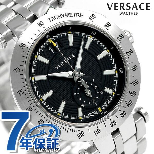 ヴェルサーチ 時計 メンズ VERSACE 腕時計 Vレース 42MM クロノグラフ VAH010016 ブラック
