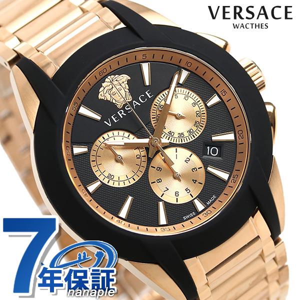 ヴェルサーチ 時計 メンズ 腕時計 キャラクター クロノグラフ スイス製 VEM800318 VERSACE ブラック×ピンクゴールド 新品【】