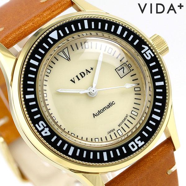 ヴィーダ プラス VIDA+ ヘリテージ 42mm 自動巻き メンズ 45918 LE-BR 腕時計 クリーム 時計