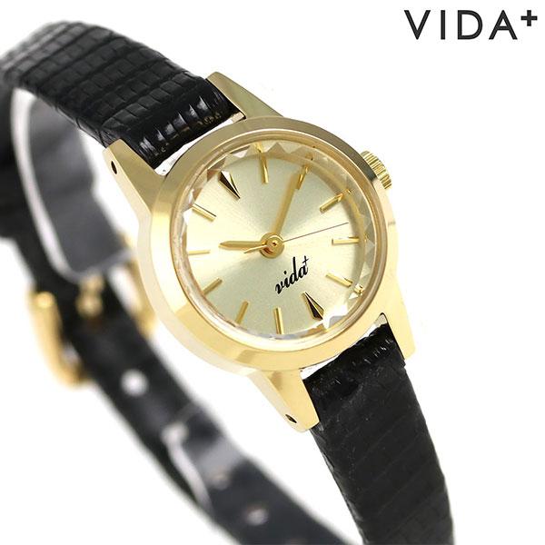 ヴィーダ プラス VIDA+ V ジャパンメイド 19mm レディース V-006G LE-BK 腕時計 ゴールド 時計