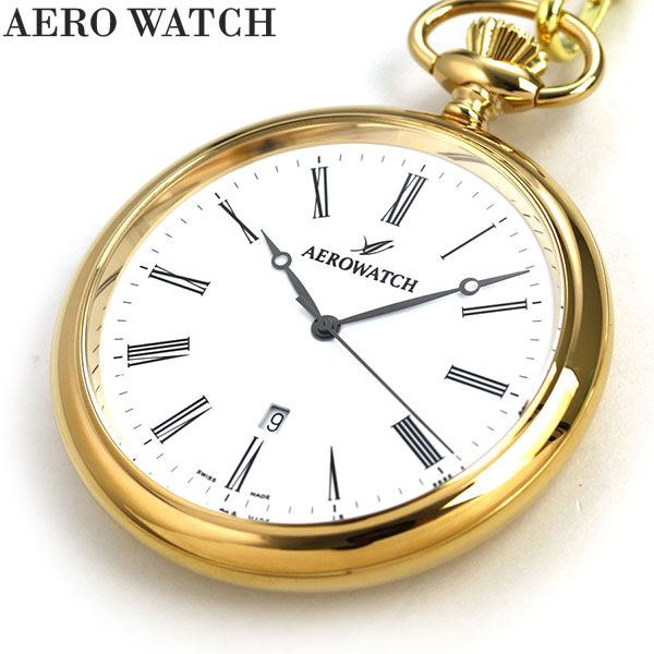 【20日は全品5倍でポイント最大29倍】 アエロウォッチ 懐中時計 オープンフェイス 25795 J501 AEROWATCH ゴールド