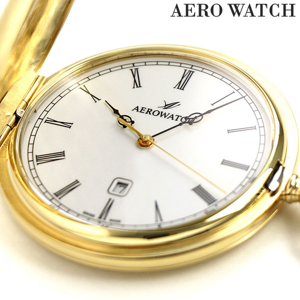 アエロウォッチ 懐中時計 ハンターケース 42796 JA01 AEROWATCH ゴールド