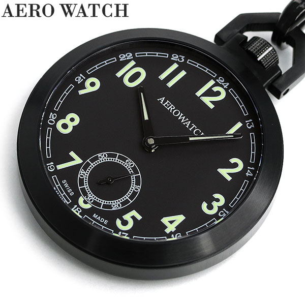 アエロウォッチ 懐中時計 コヴァー オープンフェイス 手巻き 50818 NO01 AEROWATCH ブラック