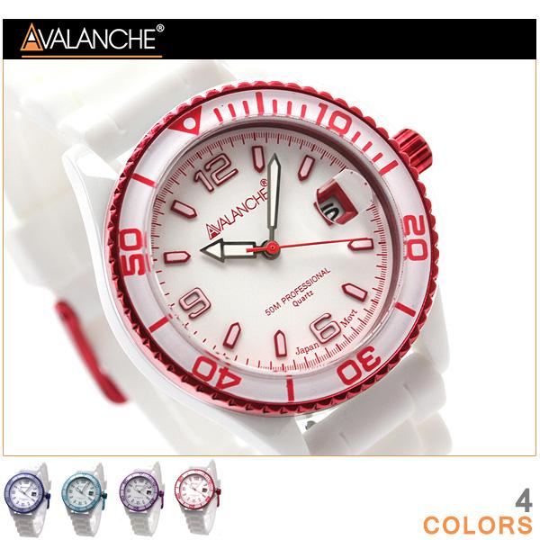 アバランチ 腕時計 デイト デラックス セラミック ラバーベルト AVALANCHE AV-1016CER 時計