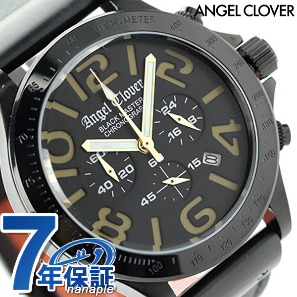 エンジェルクローバー ブラックマスター ミリタリー クロノグラフ BM46BGD-BK Angel Clover メンズ 腕時計 クオーツ オールブラック レザーベルト 時計