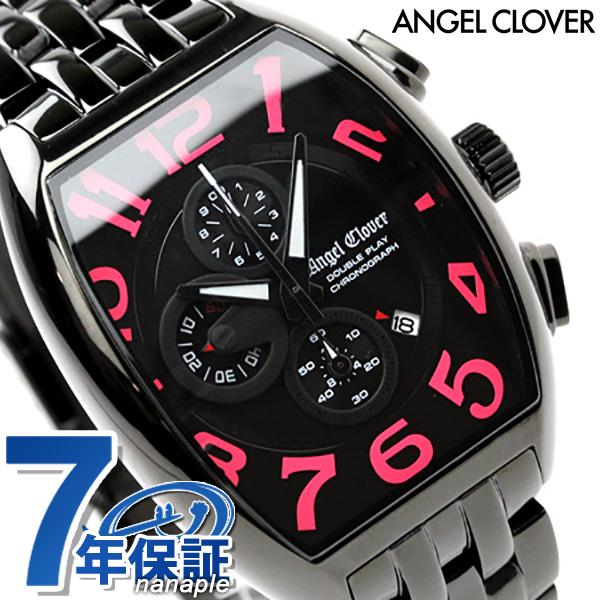 エンジェルクローバー ダブルプレイ クロノグラフ 腕時計 オールブラック×ピンク Angel Clover DP38BBP 時計