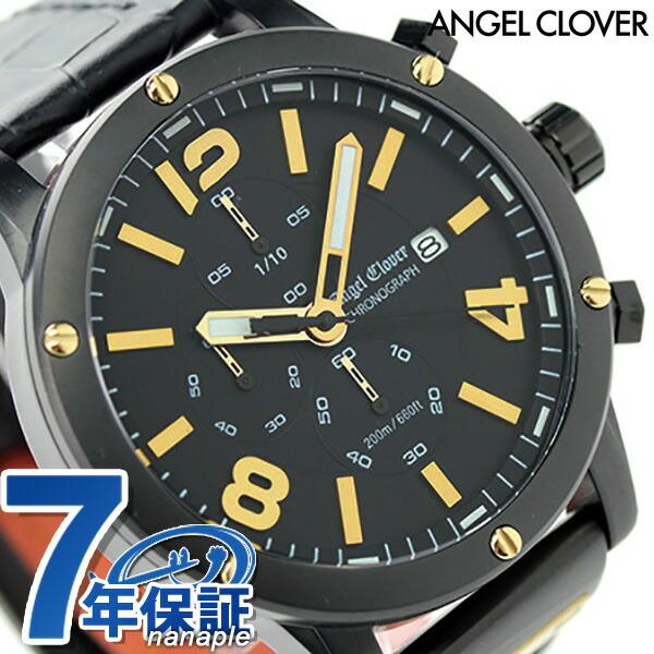 エンジェルクローバー エクスベンチャー クロノグラフ EVC46BBK-BK Angel Clover メンズ 腕時計 クオーツ オールブラック レザーベルト 時計