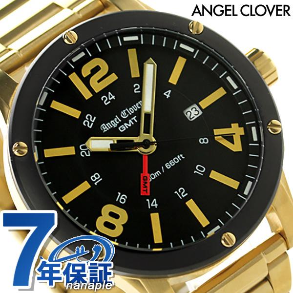 エンジェルクローバー エクスベンチャー GMT メンズ 腕時計 EVG46YBK Angel Clover クオーツ ブラック×ゴールド 時計
