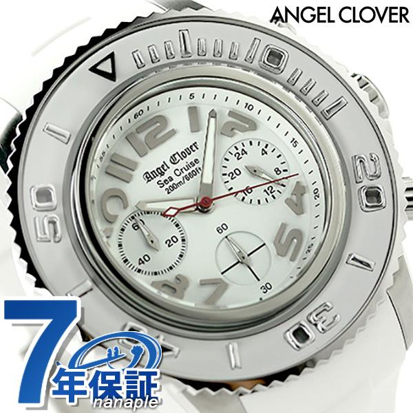 エンジェルクローバー シークルーズ クロノグラフ メンズ SC47SWH-WH Angel Clover 腕時計 ホワイト 時計【あす楽対応】