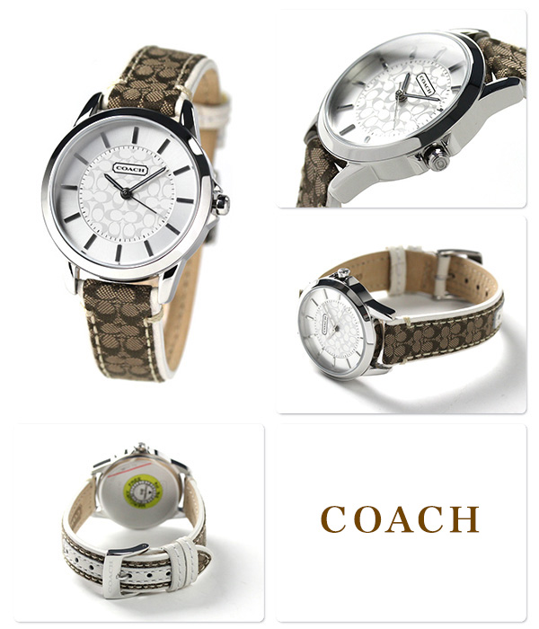 899eebad7296 コーチレディース腕時計ニュークラシックシグネチャーシルバー×カーキレザーベルトCOACH14501526