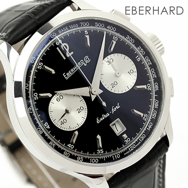 31953 Extra Leather Belt 2 Fort Grande Everhard Eberhard Taille Self Chronograph Black Watch Men Winding OuXTZwPki