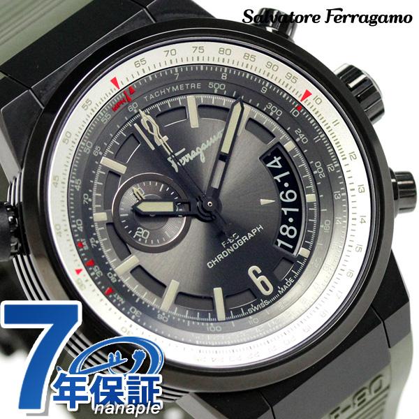 フェラガモ エフエイティ パイロット クロノグラフ 腕時計 FQ2010013 Salvatore Ferragamo グレー×カーキ 時計【あす楽対応】