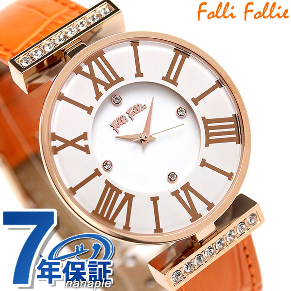 フォリフォリ ダイナスティ クオーツ レディース 腕時計 WF1B029SSS-OR Folli Follie ホワイト×オレンジ 時計