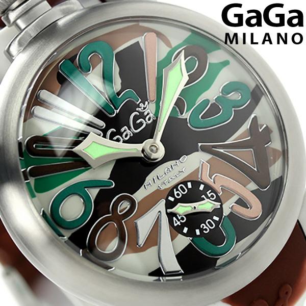 ガガミラノ 手巻き 5010.18S スイス製 マヌアーレ 48MM カモフラージュ シリコンラバーベルト 腕時計 GaGa MILANO MANUALE 時計