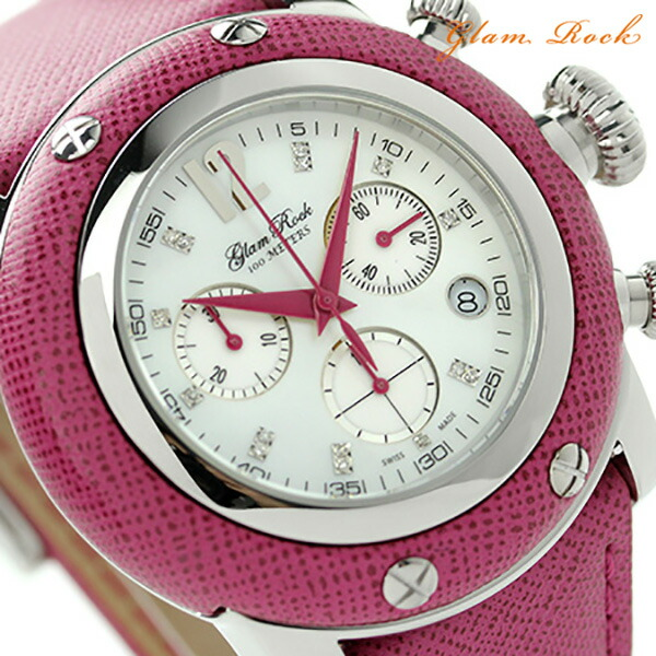 グラムロック マイアミ 46mm クロノグラフ ダイヤモンド 腕時計 GR11104 Glam Rock クオーツ マザーオブパール×フューシャ レザーベルト 時計【あす楽対応】