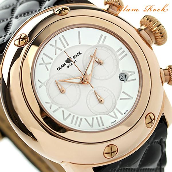 グラムロック マイアミ 46mm クロノグラフ 腕時計 GR11132 Glam Rock クオーツ ホワイト×ブラック レザーベルト 時計【あす楽対応】