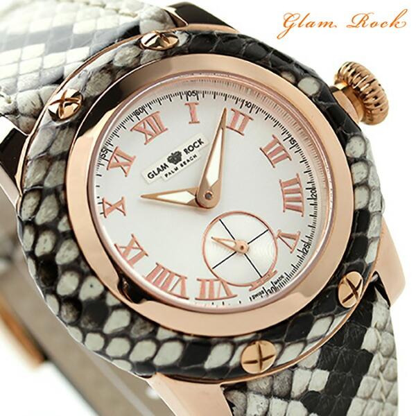 グラムロック マイアミ 40mm スモールセコンド 腕時計 GR40035 Glam Rock クオーツ シルバー レザーベルト 時計【あす楽対応】
