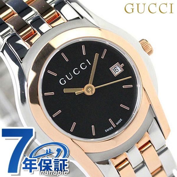 グッチ 時計 レディース GUCCI 腕時計 Gクラス デイト ブラック × ピンクゴールド YA055537【あす楽対応】