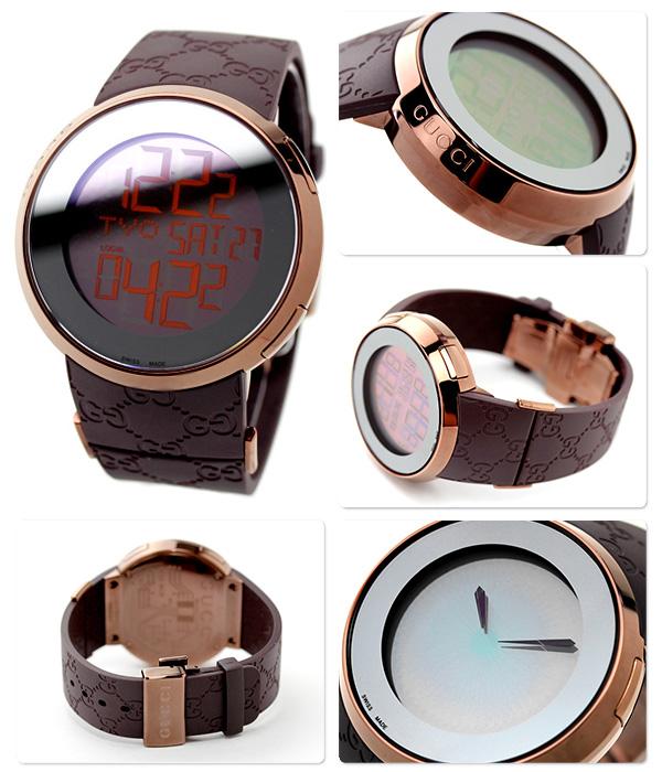 0721541eb18 Gucci clock men GUCCI watch eye 114 digital mirror X brown rubber YA114209